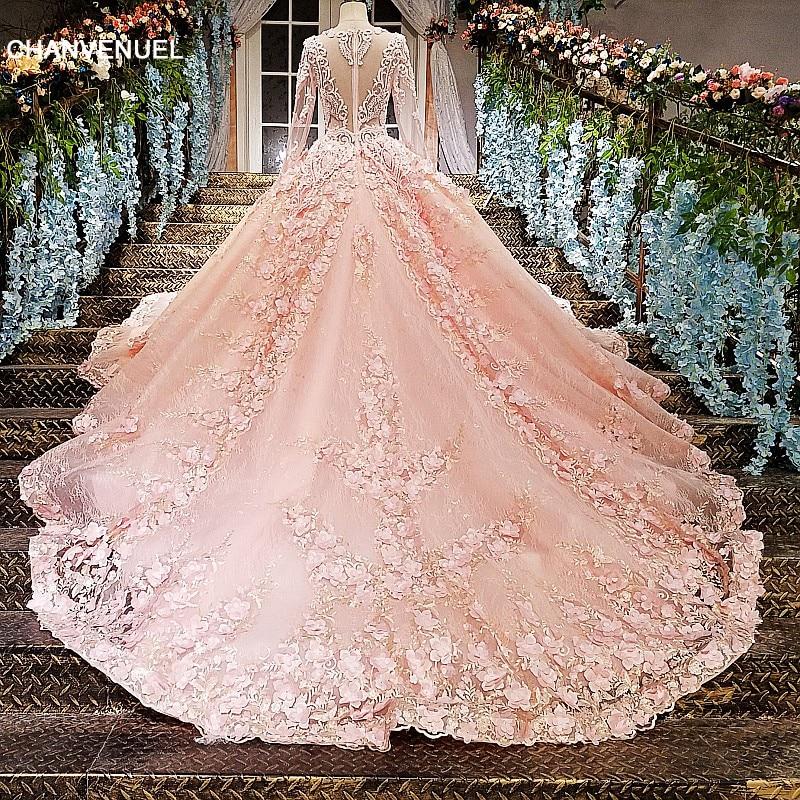 LS12585 Pink evening gown zipper back 3D flowers organza ball gown ...