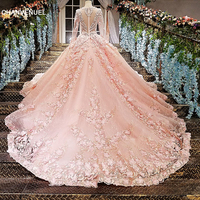 LS12585 Pink evening gown zipper back 3D flowers organza ball gown long evening dress on sale abendkleider lang real photos