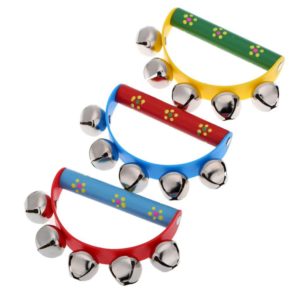 MYLB-Musical Toy For KTV Kids Little Hand Held Tambourine Bell Metal Jingles Ball