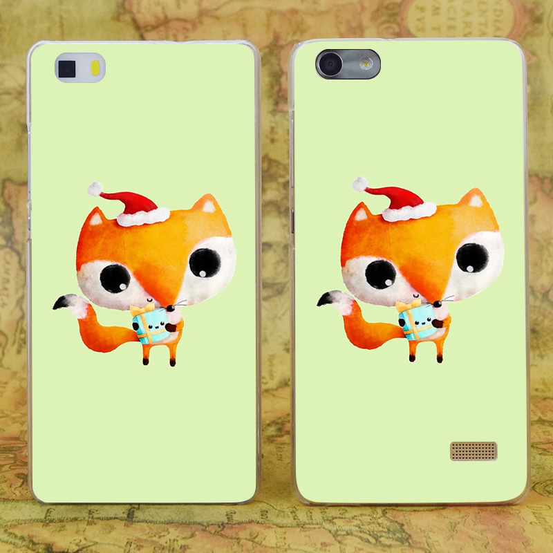 E2910 милые Рождество лиса прозрачный жесткий тонкой кожи, чехол для Huawei P 6 7 8 9 lite плюс Honor 6 7 4c 4x G7