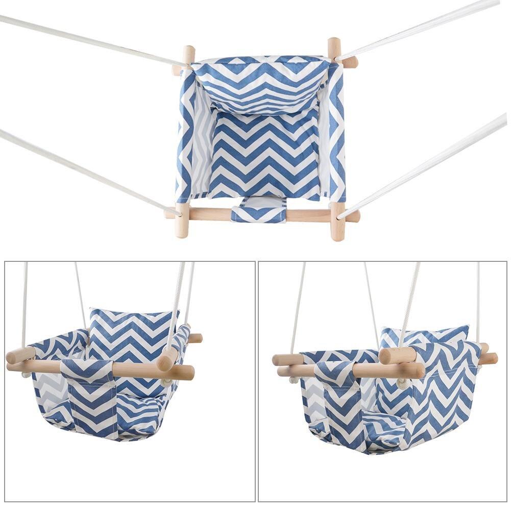 Jouet d'extérieur enfants maternelle bébé toile balançoire chaise suspendue en bois intérieur petit panier oscillant chaise à bascule avec coussin - 6