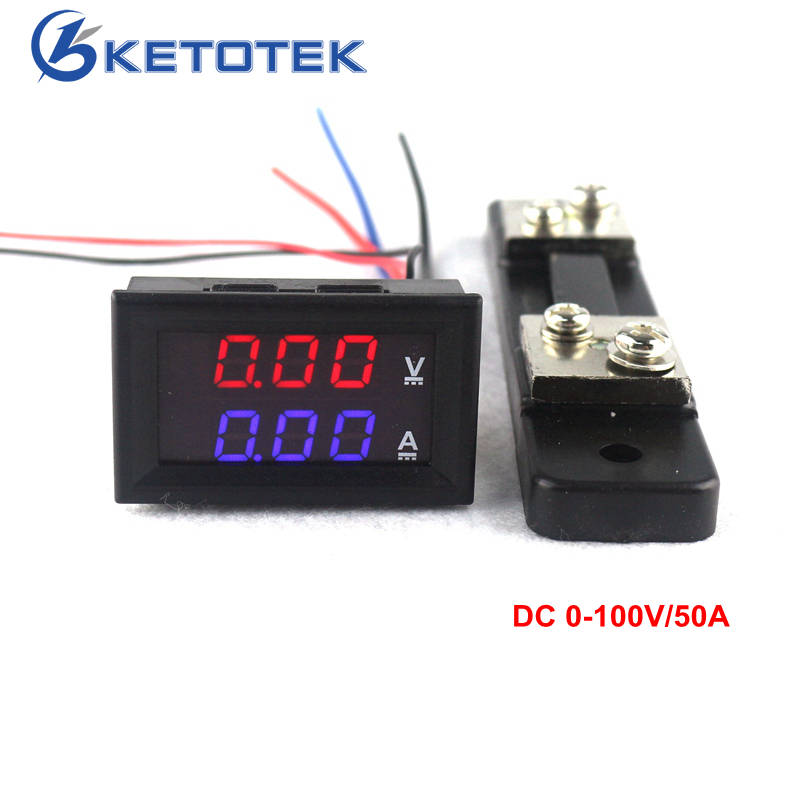 0.28 DC 0-100 V/50A Rouge Bleu Numérique Voltmètre Ampèremètre 2 en 1 DC Volt Amp mètre Avec 50A/75mV Ampère Shunt
