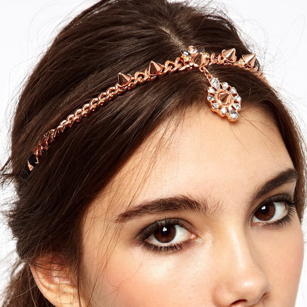 Rose Gold Revit Punk Crown Headband forehead jewelry head chain hair