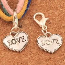 Dots Rim LOVE Heart Lobster Claw Clasp Charm Beads 13.6x26.9mm 100PCS Tibetan silver Jewelry DIY C915 triangular arrow lobster claw clasp charm beads 24 4x4 6mm 200pcs tibetan silver jewelry diy c462