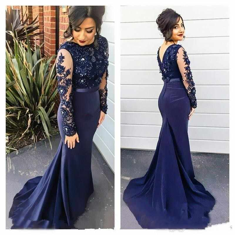 Navy Blue High Neck Spitze Mermaid Party Kleider 2018 Long Sleeves Appliqued Abendkleider Lange Prom Kleid vestido longo festa