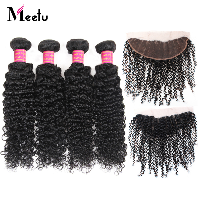 Meetu Indian Curly Bundles with Frontal 4 Bundles with Frontal Human Hair Bundles with Frontal 13x4 inch Free Part Non Remy