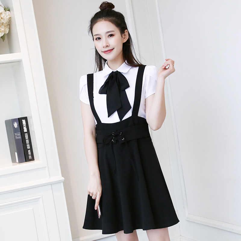 3629a7365 ... 2018 Summer Black Pink Chiffon Overalls Skirt Women School Girl Skirts  Sexy Cute Students Skirt High ...