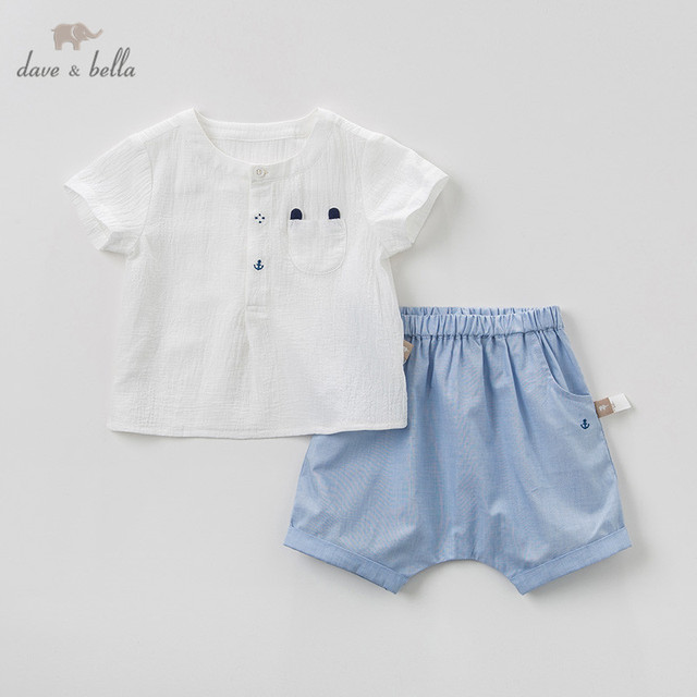 b0e658b9fc0a DBW10612 Dave Bella Summer Baby Boys Clothing Sets Cute Children Solid  Suits Infant High Quality Clothes