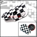 (1) Black Checkered Pattern Design Real Leather Key Fob Cover Holder For 2008-up MINI Cooper R55 R56 R57 R58 R59 R60 R61