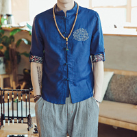 2018 Spring Summer Chinese Vintage Style Pankou Comfortable Lotus Five Short Men Wave Polychrome Sleeve Flax