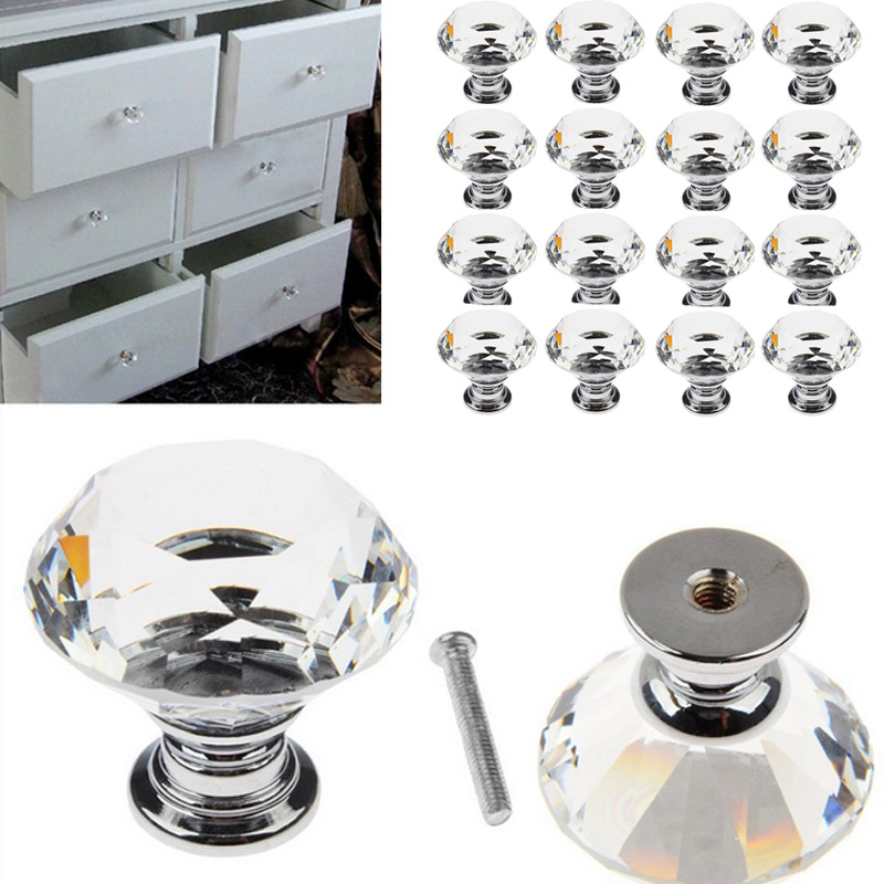 4/6/8/12/16 Pcs Mini Clear Crystal Glass Knobs With Screws Door Handle For Drawer Cabinet Cupboard Wardrobe ALI88 nflc 16 x ls d3020 40mm clear crystal glass diamond cut door knobs kitchen cabinet drawer knobs screw home decorating crystal