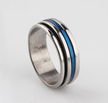 Punk Jewelry Titanium Stainless Steel Three Color Blue Sliver Rotation Three Circle Women Men Rings Wedding Engagement Rings(China)