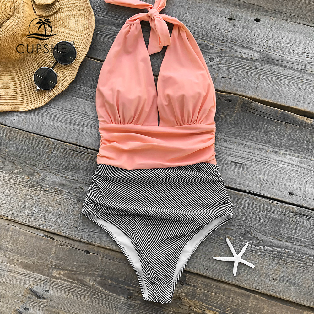 CUPSHE Keeping You Accompained Stripe One-piece Swimsuit V neck Backless Halter Sexy Bikini 2018 Ladies Beach Bathing Swimwear