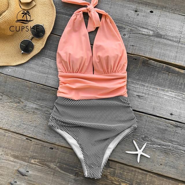 CUPSHE держать вас Accompained полоса цельный купальник с v-образным вырезом спинки Холтер сексуальное бикини 2018 женские пляжные купальники