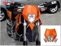 ZJMOTO Мотоциклов Фары Orange Dirtbike Мотокросс Off Road Универсальный ЭНДУРО ДОРОЖНЫЙ ПРАВОВОЙ РМЗ RM KX SX KTM Газ Газ WR KLX CB