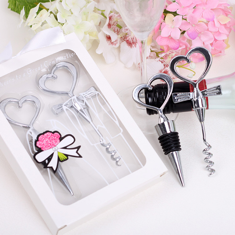 15pairs lot Wedding Souvenir Couple Bottle Opener Heart Shape Party Small Gift With Box For Wedding