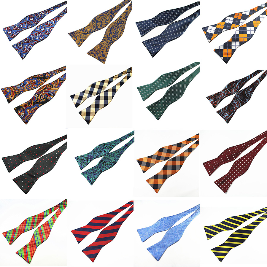 RBOCOTT Justerbar Bowties Self Bow Tie Mænds 100% Silke Jacquard Woven Mænd Classic Wedding Party Bow Ties Multi-Colors