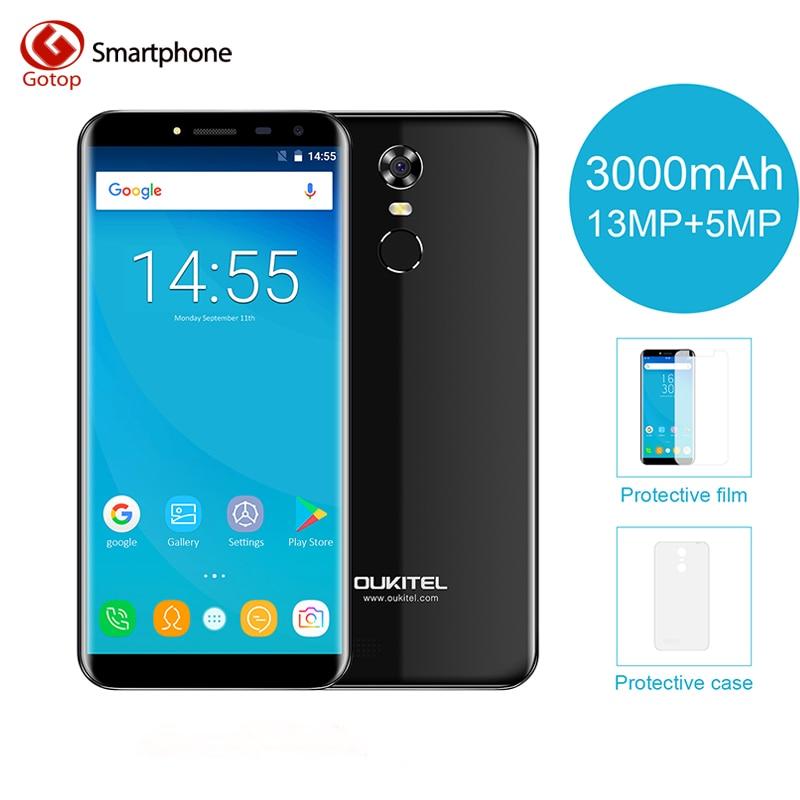 Afficheur Infinity Oukitel C8 5.5 5.5 18:9 androïde 7.0 MTK6580A Smartphone Quad Core 2G RAM 16G ROM 3000mAh téléphone portable à empreinte digitale
