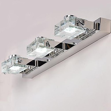 Artistic Stainless Steel Led Mirror Bathroom Light LED Wall Lamp With 3 Lights Wall Sconce  Free Shipping dvolador luxury crystal led mirror front light 10w 15w ac110 220v bathroom waterproof anti fog led stainless steel wall light