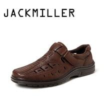 Jackmiller Top Brand Hot Summer Men Sandals Breathable Slip-On Light Comfortable Handmade Men Shoes Solid Brown Fashion Shoes