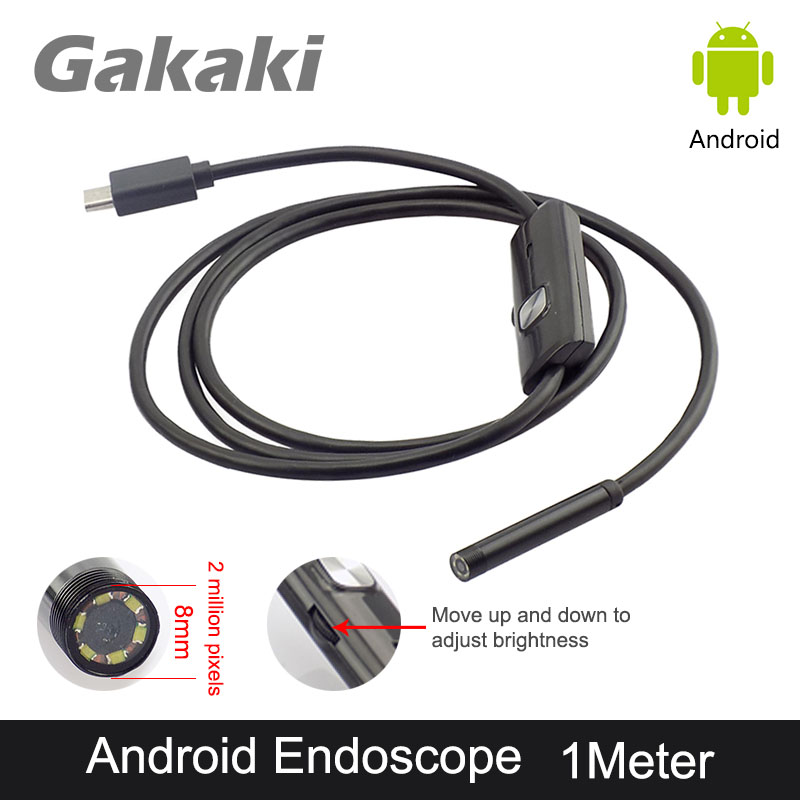 Gakaki 2MP 8mm 1M For Android OTG USB Endoscope Camera Snake Tube USB Mobile Phone Waterproof Inspection Borescope Endoscoop Cam gakaki hd 8mm lens 20m android phone camera wifi endoscope inspection camera snake usb pipe inspection borescope for iphone ios