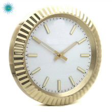 Gold Color Metal Wall Clock Luxury Design Watch Shape Stainless Steel Clocks Art Modern with Glowing Features