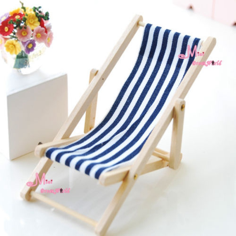 Dollhouse Foldable Miniature Beach Chair Fairy Garden Furniture Deck 1:12 Scale Miniatur ...