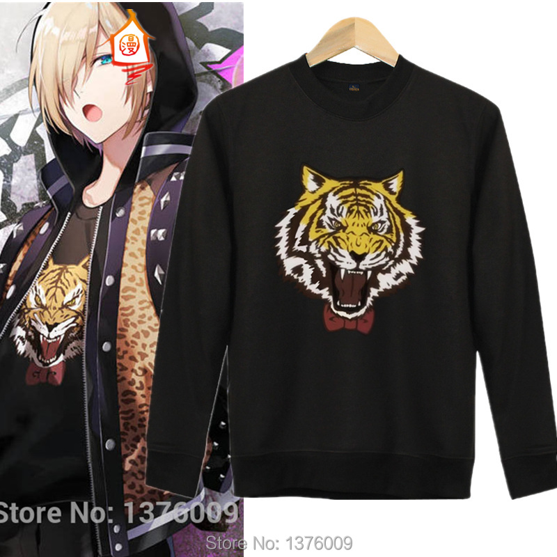 Women Hoodie Yuri On Ice Cosplay Sweatshirts Plisetsky Yuri Japan Anime Tops Harajuku Cool Black Tiger Printed Women Pullovers