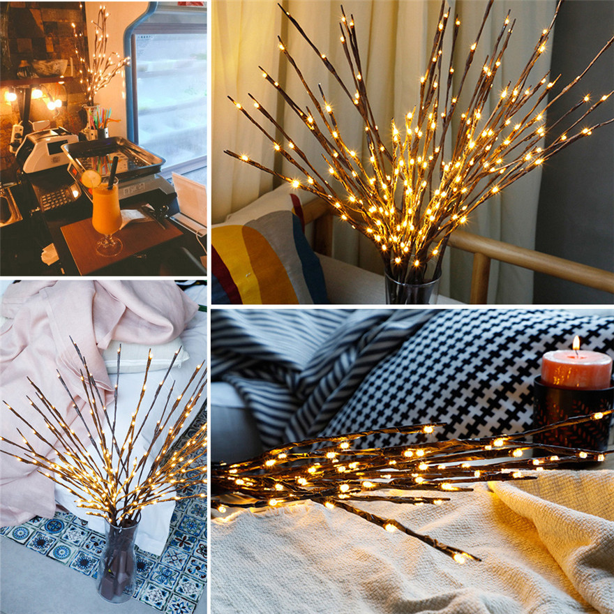 3 Pcs Led Willow Branch Lamp Floral Lights 20 Bulbs Home Christmas Party Garden Decor Christmas Birthday Gift Gifts #1210 A#487 To Have A Unique National Style