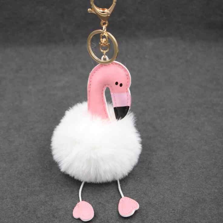 2018 Bonito pompom chaveiro flamingo chaveiro fofo falso bola de pêlo de coelho mulheres saco pompom pom pom do anel chave do carro titular Natal
