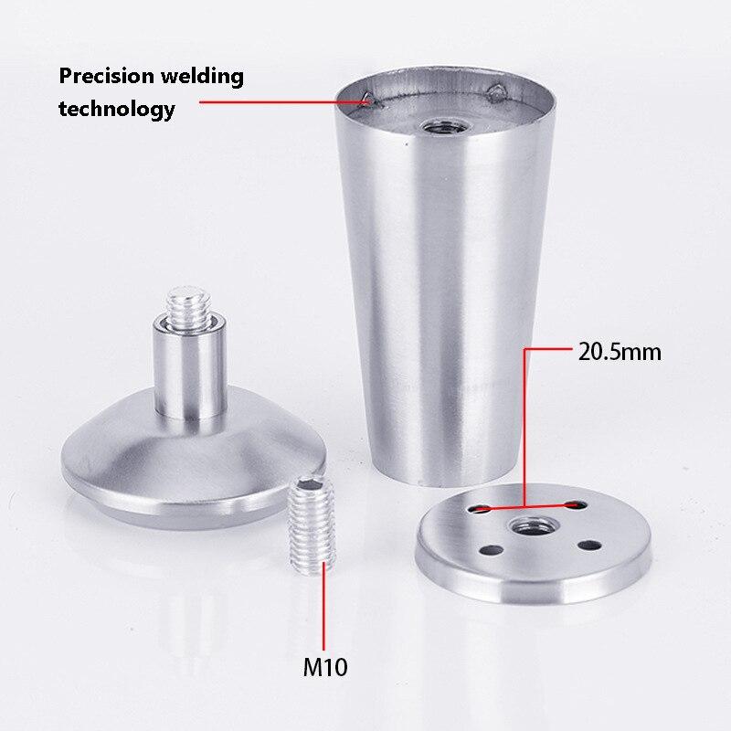Image 5 - 4 sztuk ze stali nierdzewnej stali nierdzewnej pogrubienie regulowana szafka stopy wsparcie szafka stopka typu Sofa stóp łazienka szafka stopyNogi meblowe   -