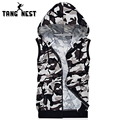 TANGNEST Camouflage Men Vest Hooded 2017 Fashion New Casual Thin Vest Men Printing Soft All-matched Vest Chaleco Hombre MWB234