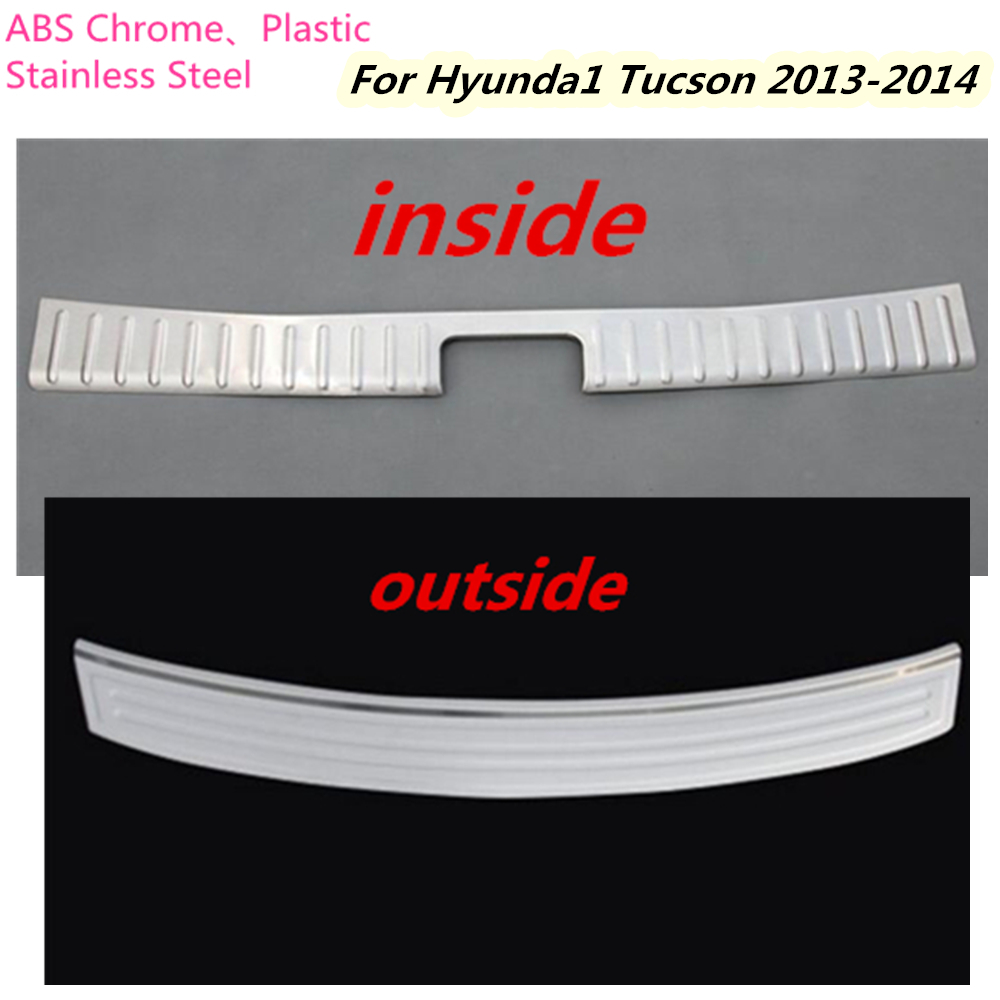 For Hyundai Tucson 2013 2014 Car cover Stainless Steel inside/outside Rear Bumper tailgate pedal Strip trim plate lamp threshold