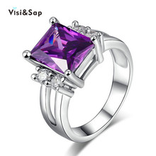 Eleple White gold color ring Russia Purple stone Wedding Rings For Women clear cubic zircon fashion Jewelry VSR202