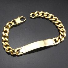 AMUMIU Factory Price!! Men's ID Bracelet 316L Stainless Steel Gold Color Bracelet For Men Wholesale HZB003