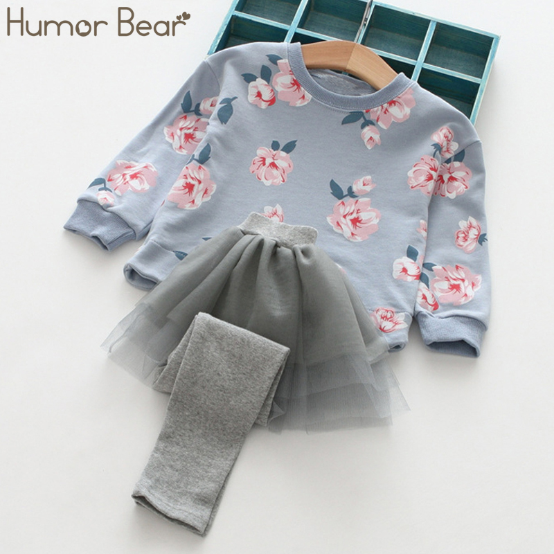 Humor Bear Baby Girls Sets Long Sleeve Tops+Pants 2017 Spring Autumn Children Clothing Sets Girls Clothes Kids Outfits humor bear baby girl clothes new spring and autumn long sleeve t shirt pink princess dress kids clothes girls clothing