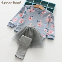 Humor Bear Baby Girls Sets Flower Long Sleeve Tops Pants 2017 Spring Autumn Children Clothing Sets