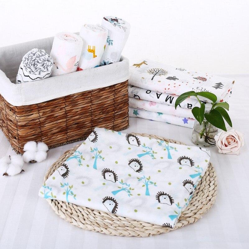 120x120cm Baby Gauze Blanket 2018 new Cotton Wrapped Bath Towel Infant Soft Air Conditioning Towel elegant colorful stripe bohemia soft cotton towel