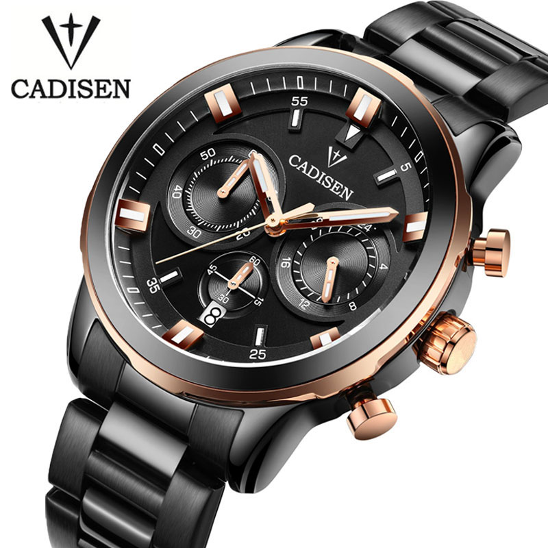 ФОТО CADISEN Watches Men luxury Chronograph Sport Watch Genuine Leather Quartz Watch Men relogio masculino 2016 Waterproof Wristwatch