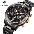 CADISEN Watches Men luxury Chronograph Sport Watch Genuine Leather Quartz Watch Men relogio masculino 2016 Waterproof Wristwatch