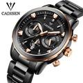 Cadisen relógios homens luxo chronograph sport watch pulseira de couro genuíno relógio de quartzo homens relogio masculino 2016 relógio de pulso à prova d' água