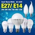 Ultra Bright Quente/Pure White E27 E14 Base de LED Globo/Chama/Vela Lâmpada Lâmpada 2 W 3 W 5 W 7 W 9 W 12 W