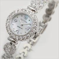 Original Brand Women Bracelet Watches Natural Shell Dress Wrist watch Blingbling Crystals Analog Clock Quartz Reloj Montre femme