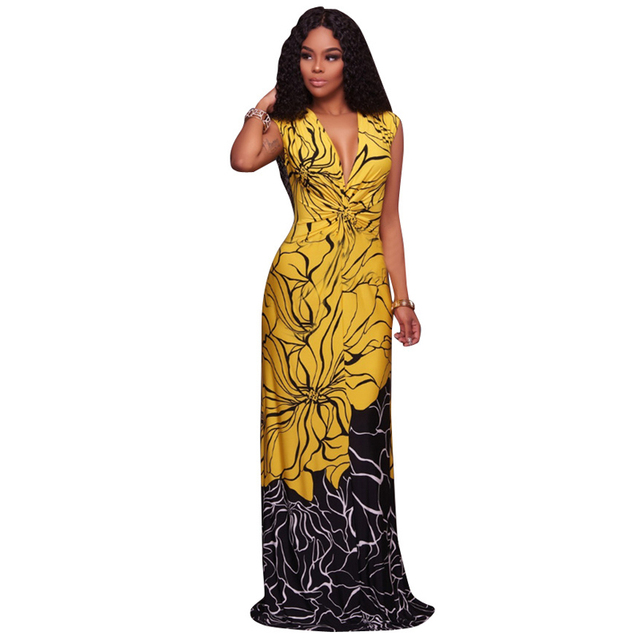 b0a7c688eb US $17.29 7% OFF|Traditional African Clothing Women Yellow Black Patchwork  Print Sexy Deep V Neck Sleeveless Evening Party Summer Long Maxi Dress-in  ...