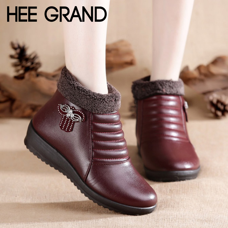 Hee Grand New Woman Snow Casual Boots Slip on Winter Warm Faux Fur Ankle Boots Mother Fashion Flats Women shoes XWX6921 hee grand inner increased winter ankle boots warm fringe fashion platform women snow boots shoes woman creepers 3 colors xwx6180