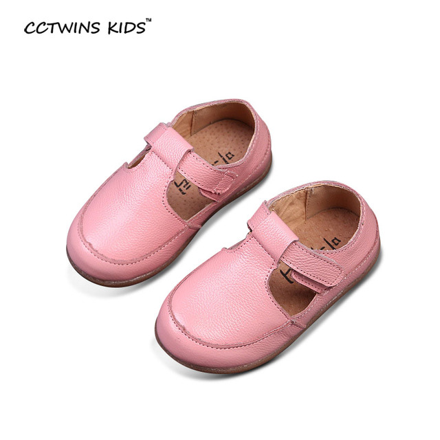 CCTWINS KIDS spring autumn toddler pink flats for baby girl brand strap kid genuine leather shoes children fashion party black