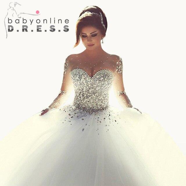 .com : Buy Vestido De Noiva Casamento Sheer Long Sleeve Princess ...