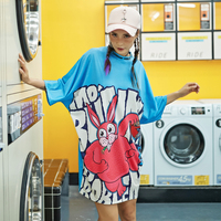 Fashion Crop top For Women Harajuku T shirts Blue Streetwear Tees Cartoon Print tshirt Women's tops