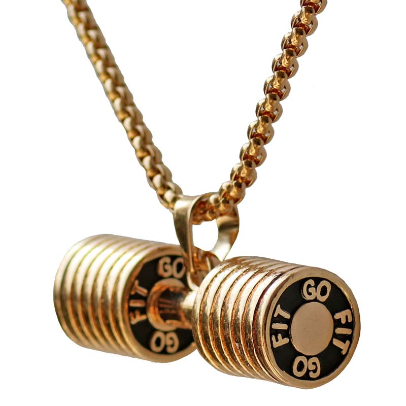 Stainless Steel Dumbbell Pendant Necklace For Women Bodybuilding Gym - Fashion Jewelry