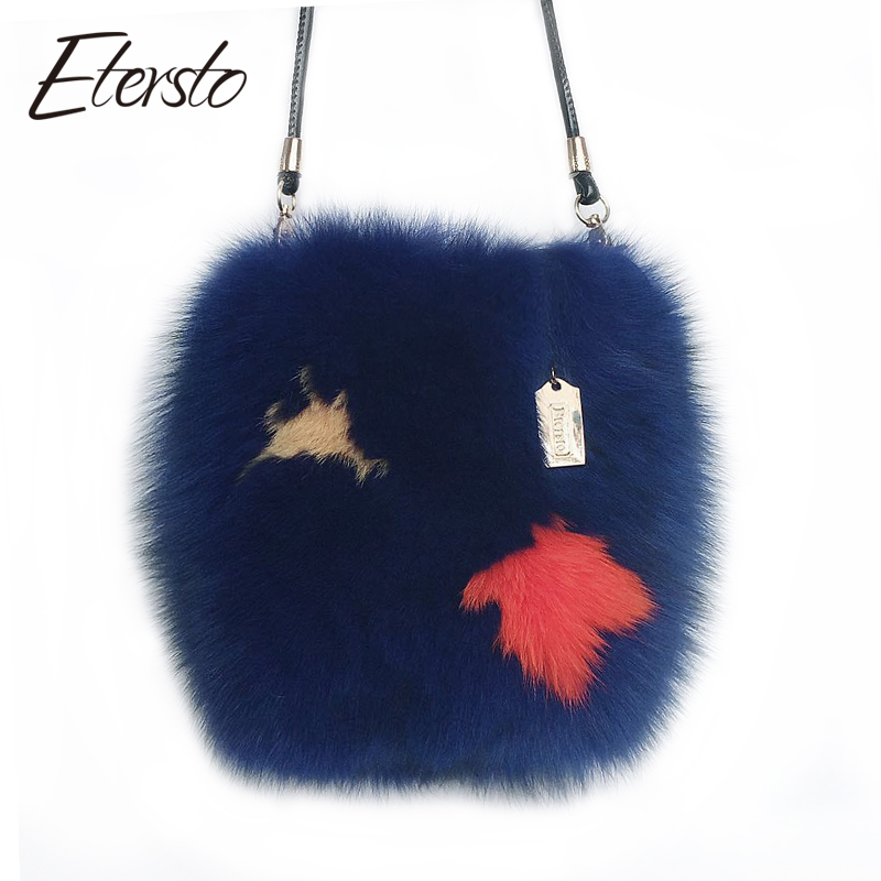 Etersto 2017 New Arrival Real Fur Bags Made By Whole Pieces Fox Fur Women Luxury Messenger Bags Fox Fur Bucket bag for Female 2017 winter new clothes to overcome the coat of women in the long reed rabbit hair fur fur coat fox raccoon fur collar